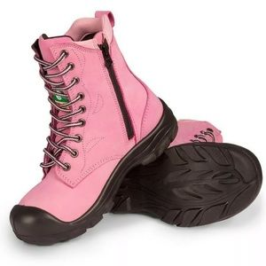 Women's pink PF Footwear steel toe boots